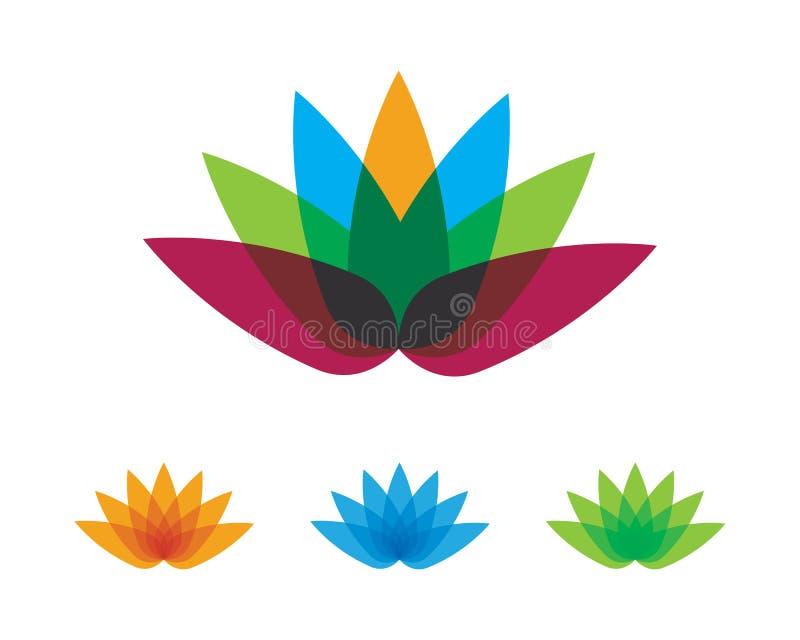 Lotus-Blumendesignlogo Schablone lizenzfreie abbildung