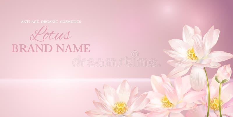 Lotus-Blumenfahne lizenzfreie abbildung