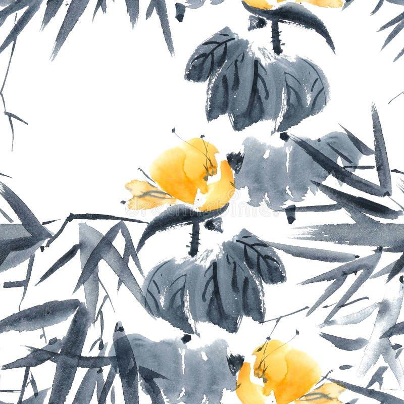 Lotus bud and bamboo pattern stock illustration