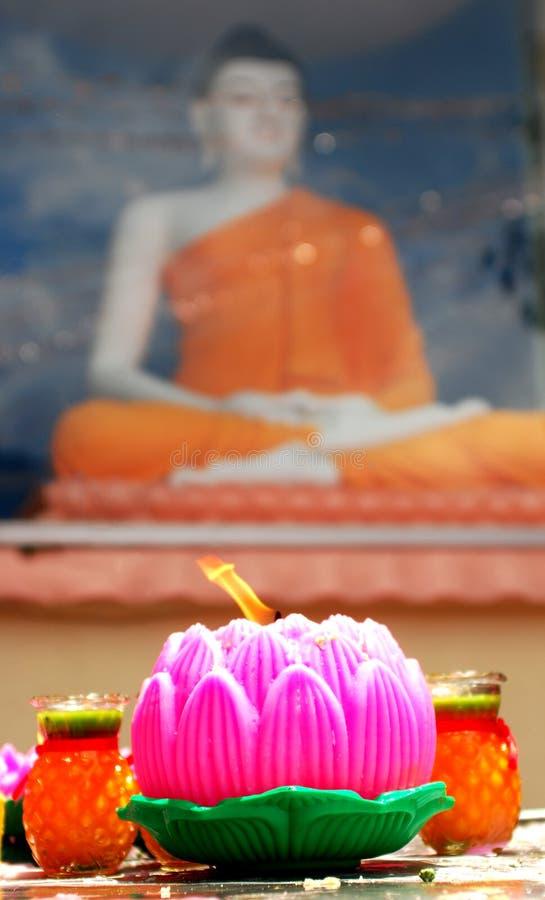 Free Lotus Candle Lit On Wesak Festival Royalty Free Stock Images - 23779349