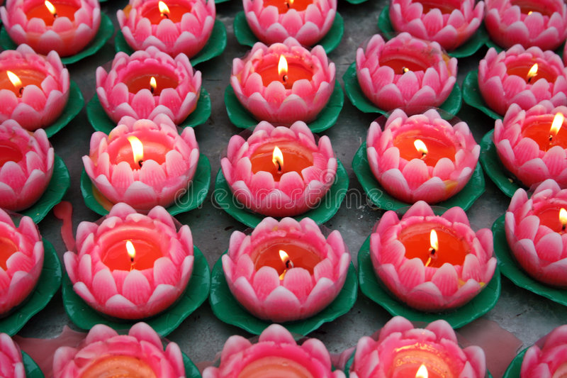 Lotus candles in the tample