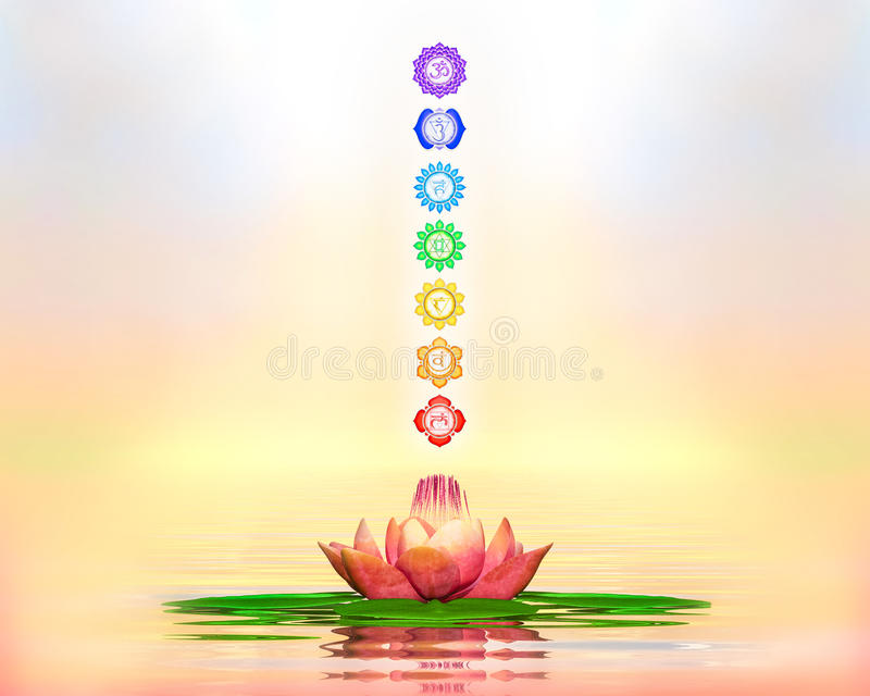 Lotus And Chakras sagrada ilustración del vector