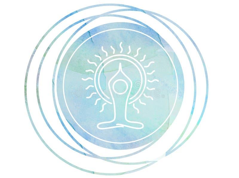 Lotus circulaire de l'OM de symbole de méditation de mandala d'aquarelle illustration stock