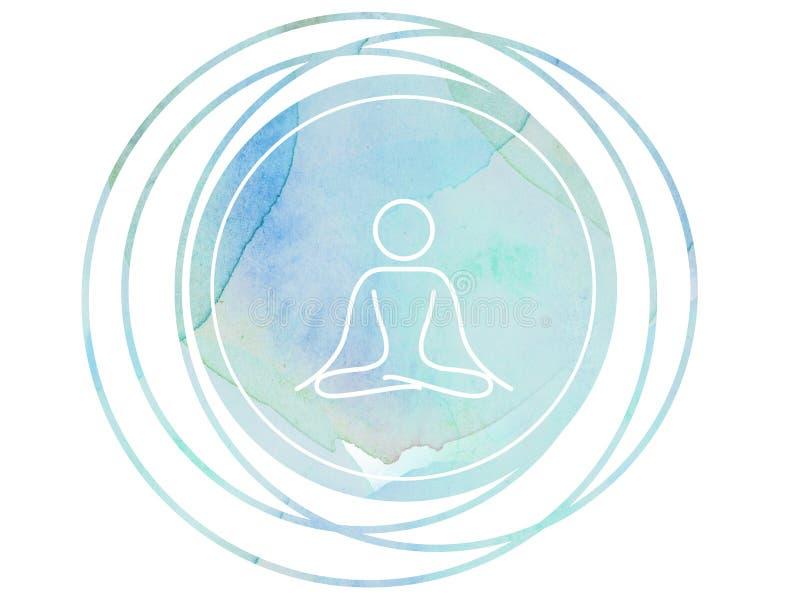 Lotus circulaire de l'OM de symbole de méditation de mandala d'aquarelle illustration libre de droits