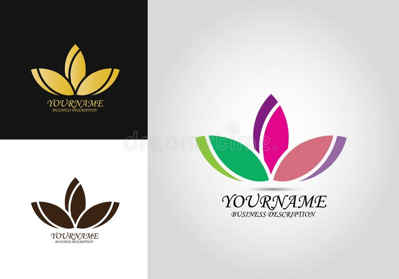 Lotus Colored Design Logo stock illustrationer