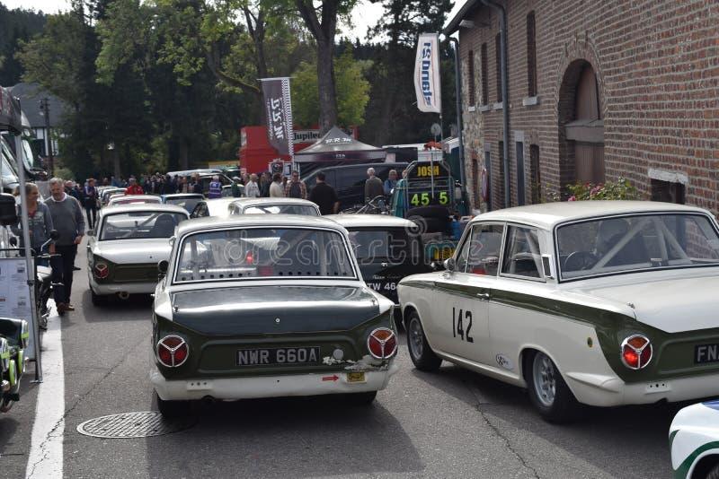 Lotus Cortina classica pronta a correre fotografia stock libera da diritti