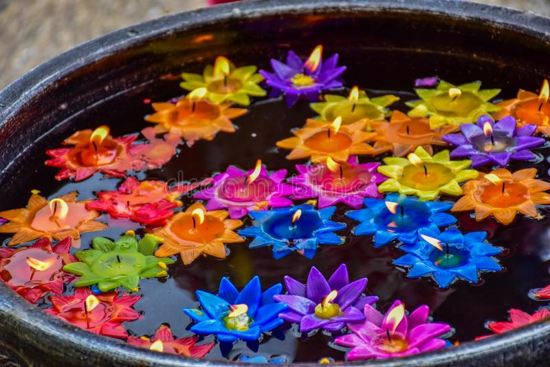 Lotus-de bloemen worden gemaakt van kaarsen voor drijvend water stock foto