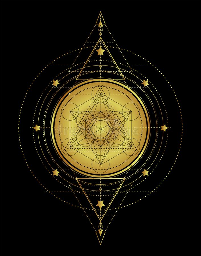 Lotus e la geometria sacra Simbolo di Ayurveda di armonia e di balanc illustrazione di stock