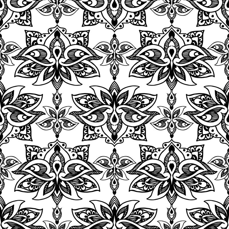 Lotus, eastern vector seamless pattern with paisley. royalty free illustration