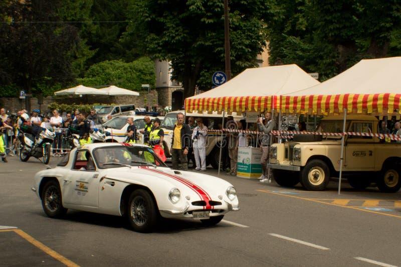 Lotus Elan em Bergamo Prix grande histórico 2015 fotografia de stock royalty free