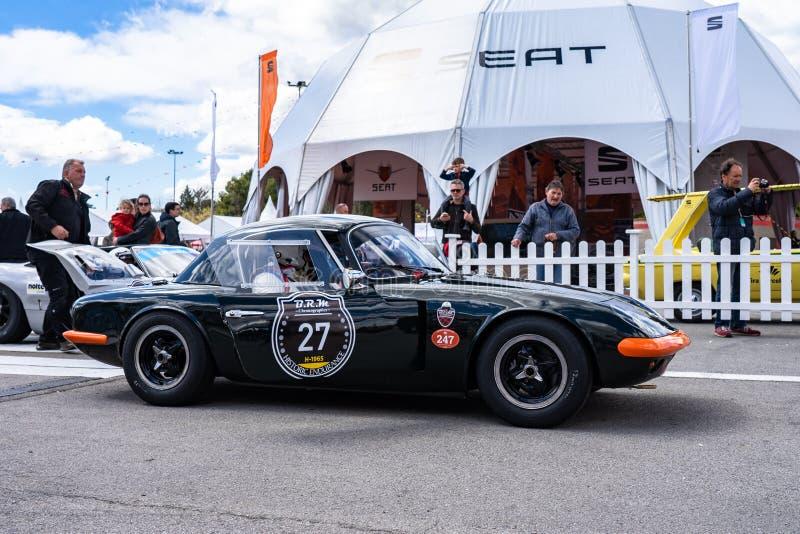 Lotus Elan nella manifestazione di automobile montjuic del circuito di Barcellona di spirito fotografia stock