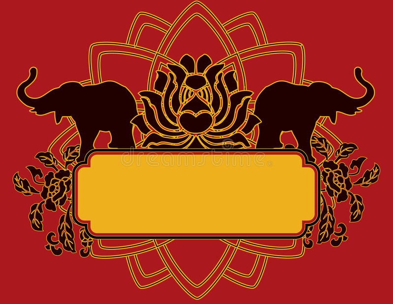 Lotus and elephant banner stock illustration