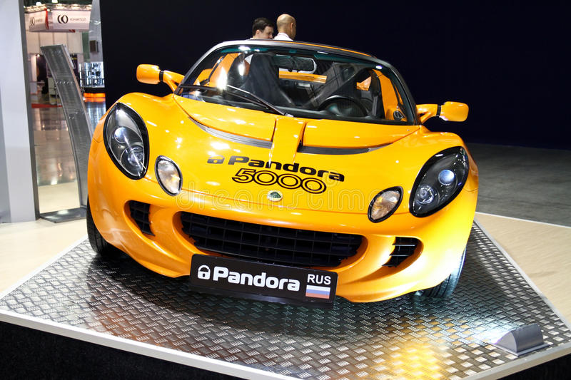 Lotus Elise. MOSCOW - AUGUST 25: Lotus Elise at the international exhibition of the auto and components industry, Interauto on August 25, 2011 in Moscow stock images