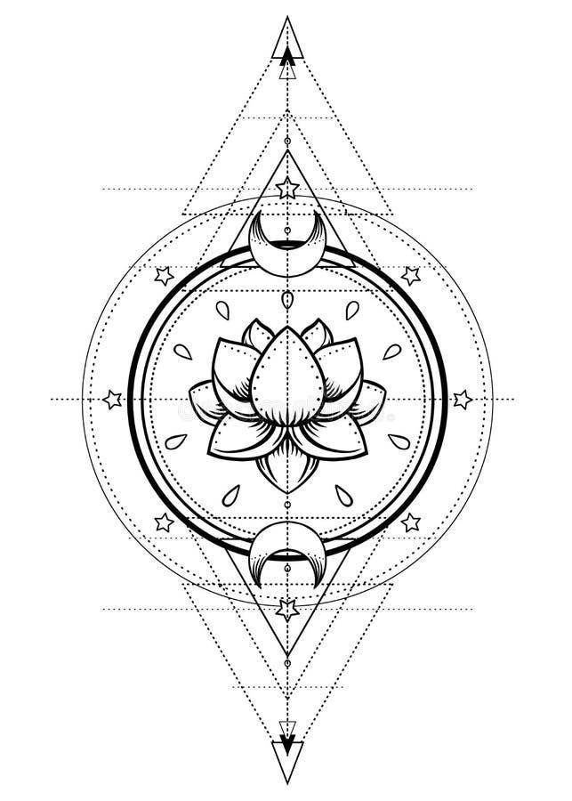 Lotus en Heilige Meetkunde Ayurvedasymbool van harmonie en balanc vector illustratie