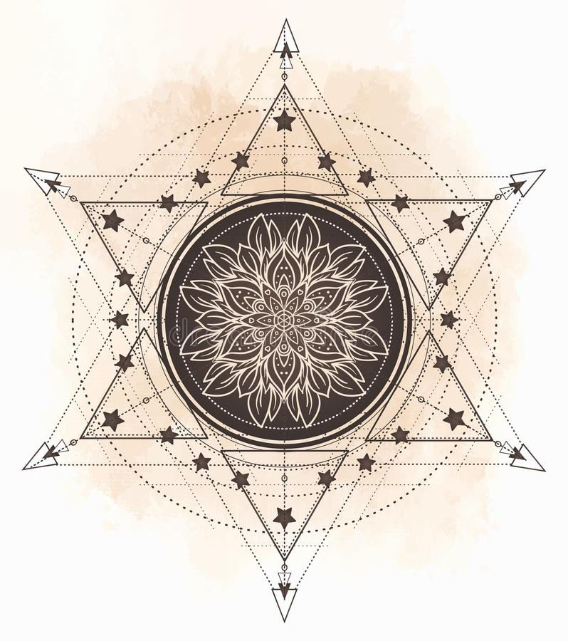 Lotus en Heilige Meetkunde Ayurvedasymbool van harmonie en balanc stock illustratie