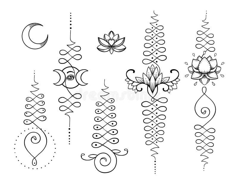 Lotus en Heilige Meetkunde Unamole Hindoes symbool van wijsheid en pa stock illustratie