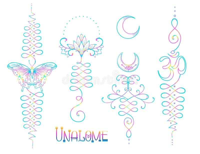 Lotus en Heilige Meetkunde Unamole Hindoes symbool van wijsheid en pa royalty-vrije illustratie