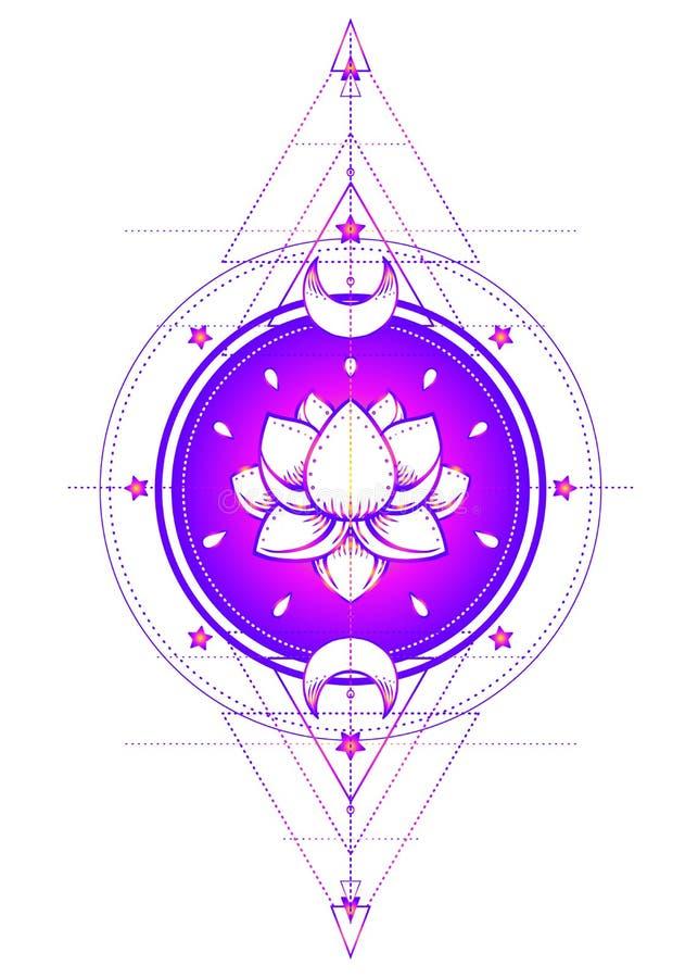 Lotus et la géométrie sacrée Symbole d'Ayurveda d'harmonie et de balanc illustration de vecteur