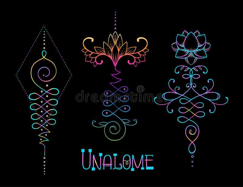 Lotus et la géométrie sacrée Symbole indou d'Unamole de la sagesse et de la PA illustration libre de droits