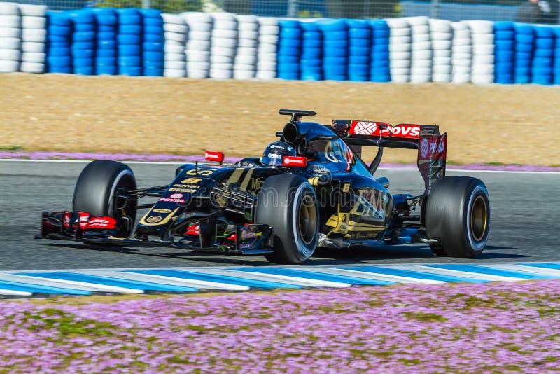 Lotus F1 lag, Romain Grosjean, 2015 royaltyfria foton