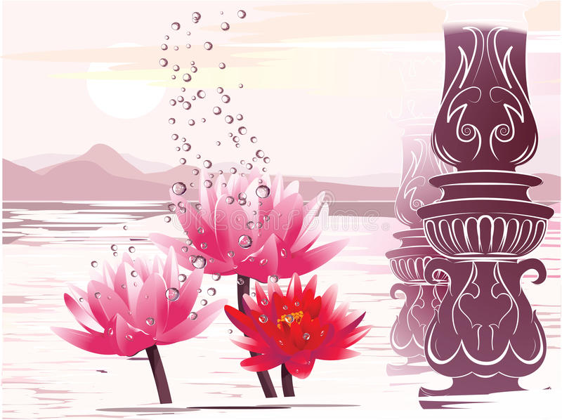 Download Lotus In The Fantastic Atmosphere Stock Vector - Illustration of calm, colors: 9612554