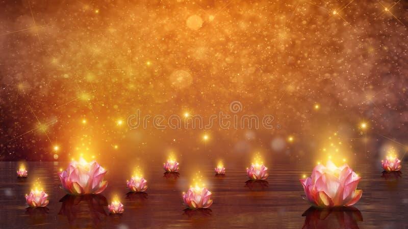 Lotus Float-Wasserlotosblume auf orange Hintergrund lizenzfreie abbildung
