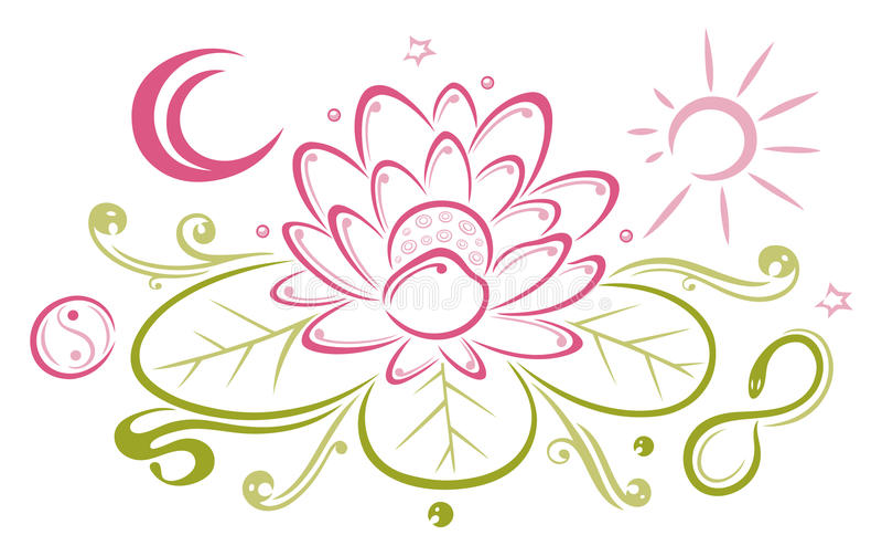 Lotus, flores, luna, sol ilustración del vector