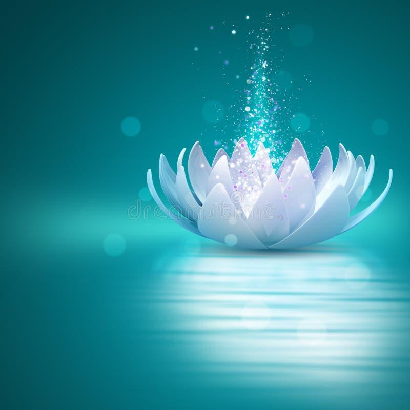Lotus flower. Abstract blue Lotus flower on water