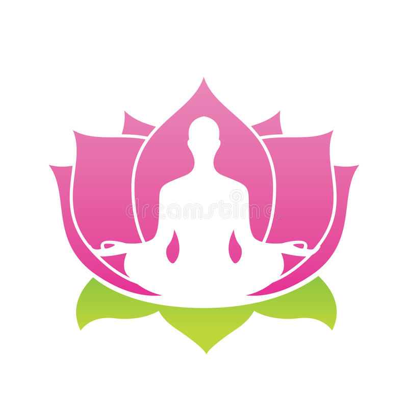 Lotus flower abstract vector logo, Yoga Asana Illustration stock illustration