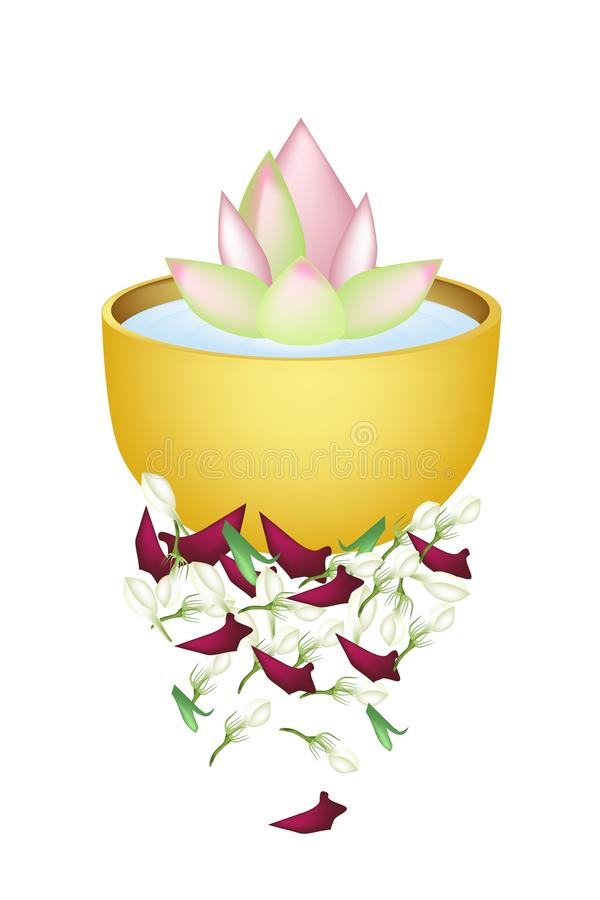 Lotus Flower in A Bowl for Songkran Festival royalty free illustration