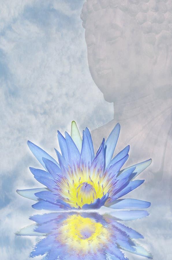 Lotus flower and Buddha stock image