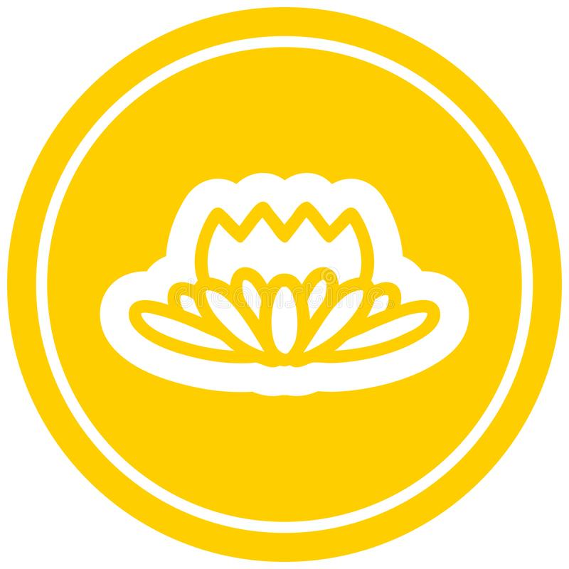 lotus flower circular icon stock illustration