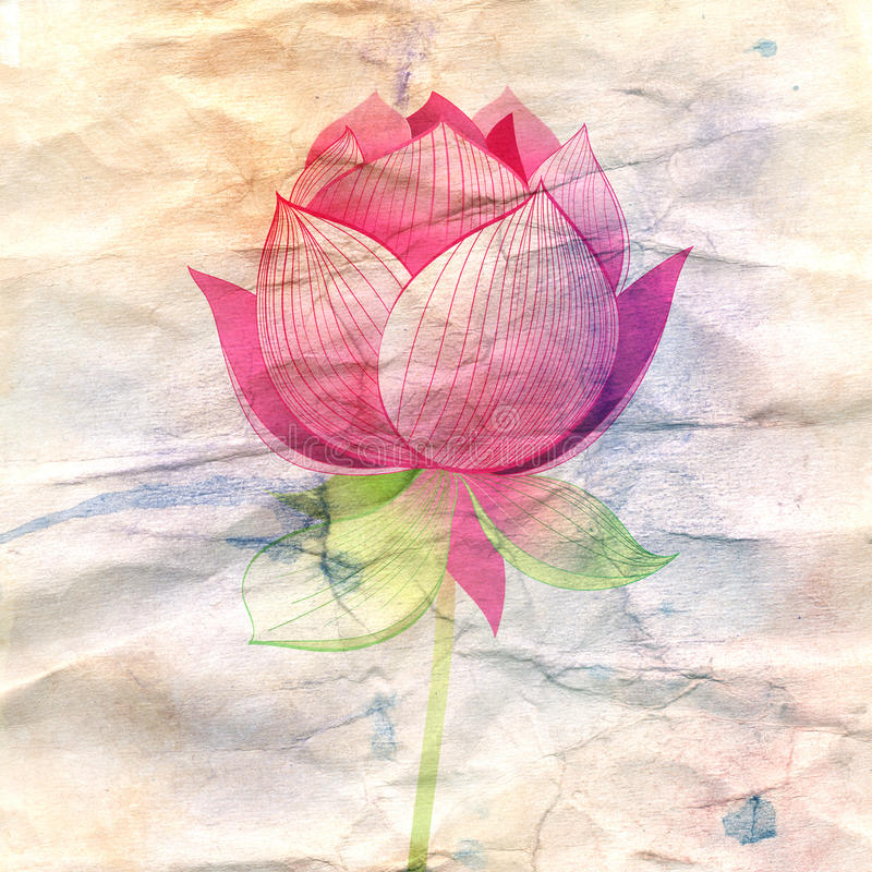 Lotus flower on a crumpled paper stock illustration illustration download lotus flower on a crumpled paper stock illustration illustration of surprising flower mightylinksfo Gallery