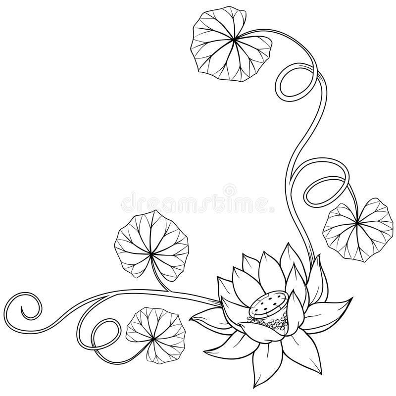 Lotus flower curly frame corner with leaves. Isolated monochrome vector illustration with no background. Cool for tattoos vector illustration