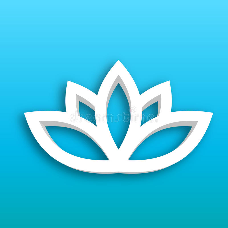 Lotus flower 3d Icon on blue gradient background. Wellness, spa, yoga, beauty and healthy lifestyle theme. Vector. Illustration vector illustration