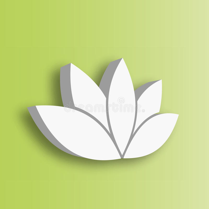 Lotus flower 3d Icon on green gradient background. Wellness, spa, yoga, beauty and healthy lifestyle theme. Vector. Illustration vector illustration
