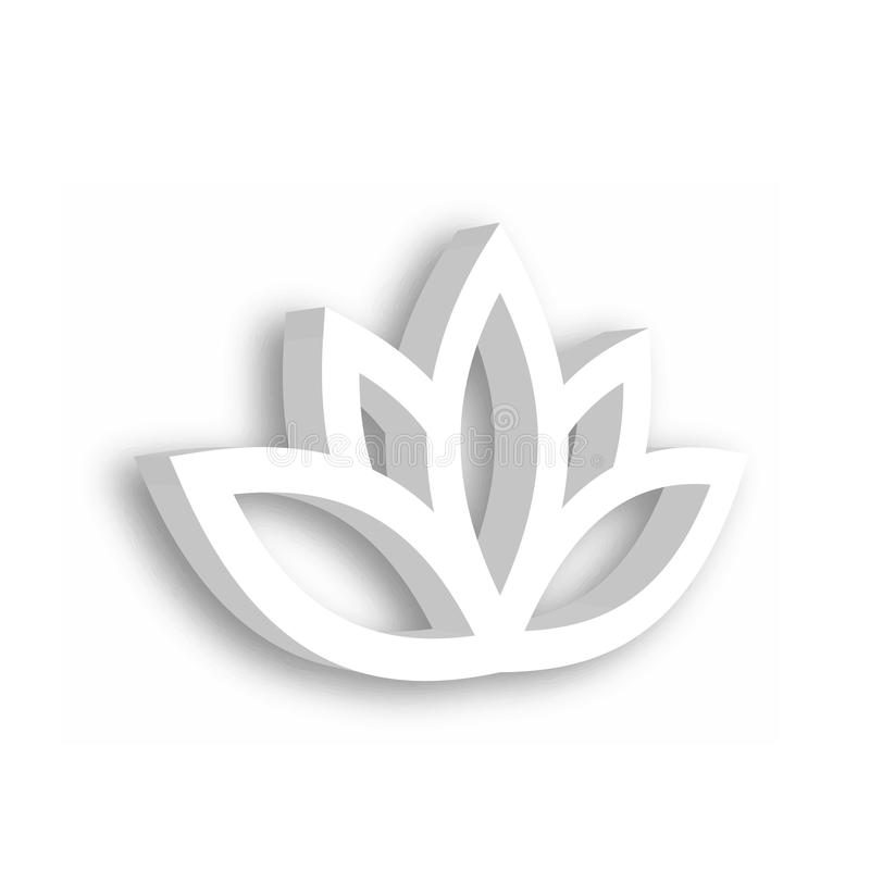 Lotus flower 3d Icon on white background. Wellness, spa, yoga, beauty and healthy lifestyle theme. Vector illustration.  vector illustration