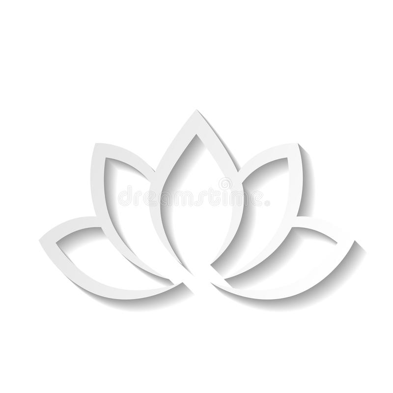 Lotus flower 3d Icon on white background. Wellness, spa, yoga, beauty and healthy lifestyle theme. Vector illustration.  stock illustration