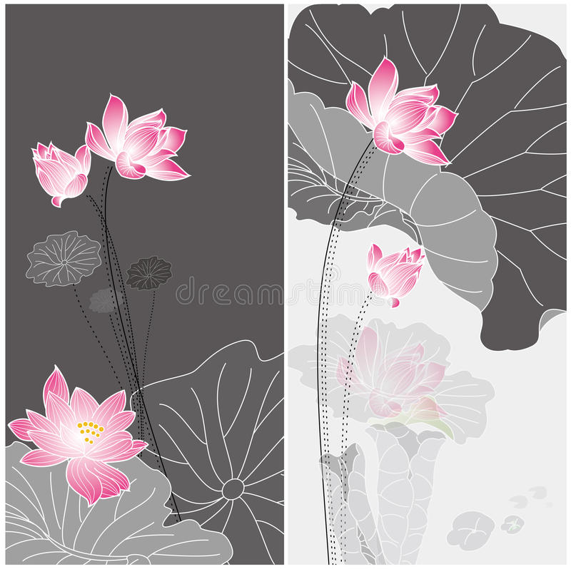 Lotus flower. Design. Chinese style  drawing card design stock illustration