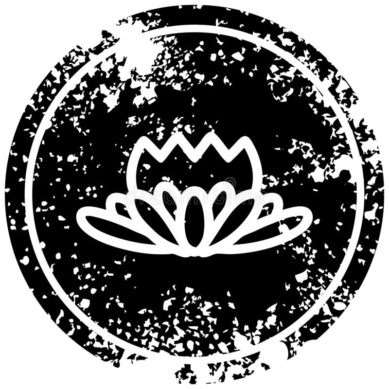 lotus flower distressed icon stock illustration