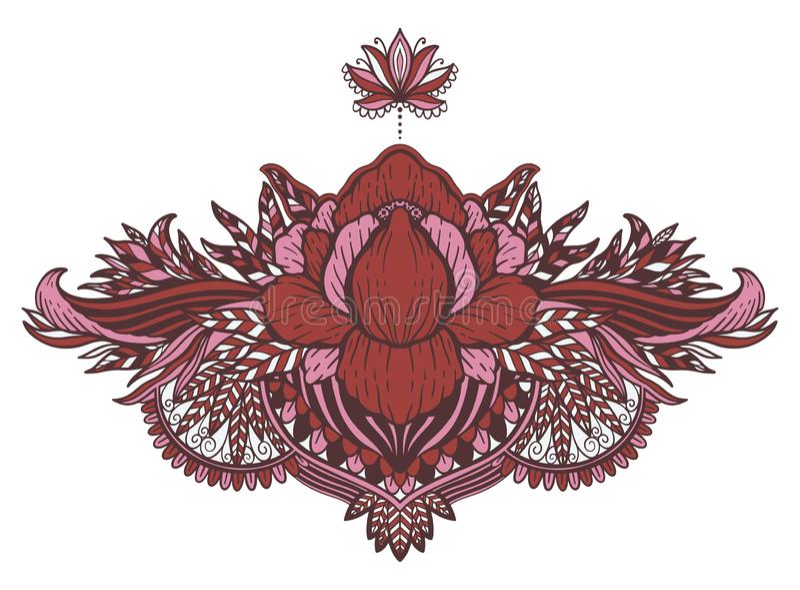 Lotus flower ethnic symbol.Tattoo design motif, decoration element. Sign Asian spirituality,nirvana and innocence. Vector illustration royalty free stock photo