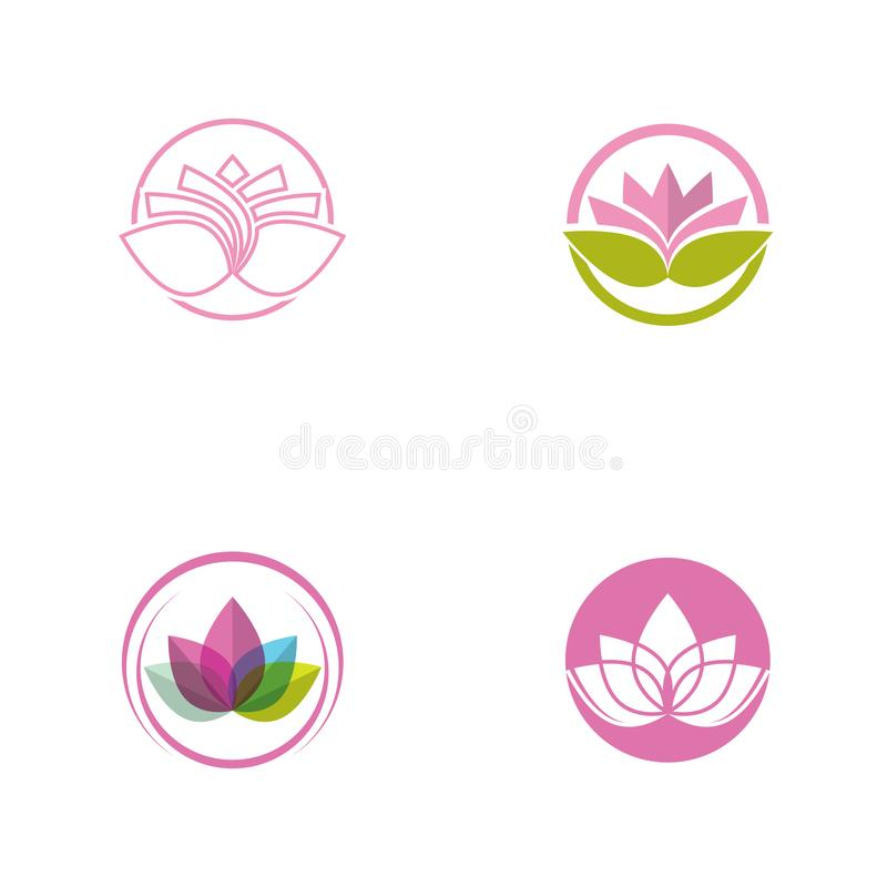 Lotus flower in flat style pink and green color vector royalty free illustration