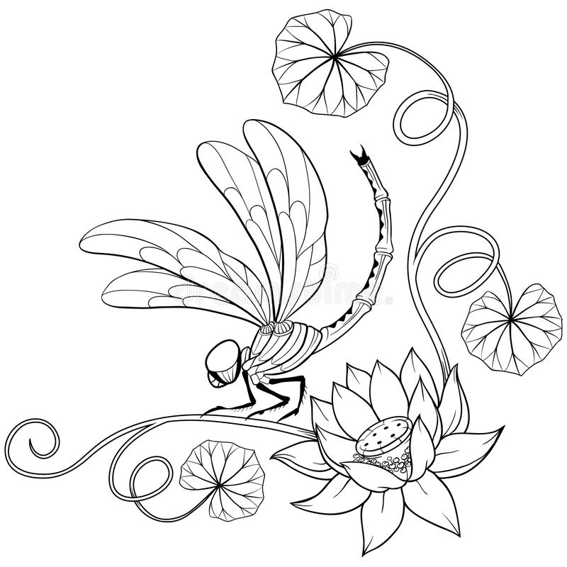 Lotus flower frame corner with dragonfly royalty free illustration