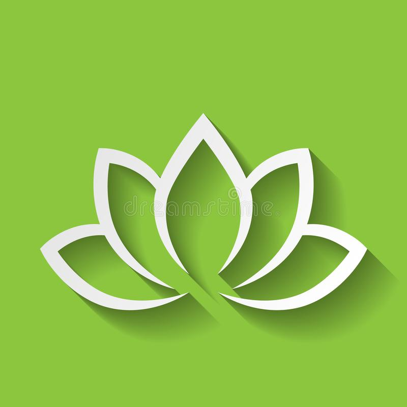 Lotus flower icon on green gradient background. Wellness, spa, yoga, beauty and healthy lifestyle theme. Vector. Illustration royalty free illustration