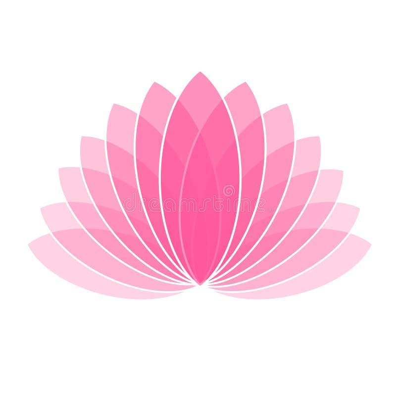 Lotus Flower Icon Logo rose sur l'illustration blanche de fond illustration stock