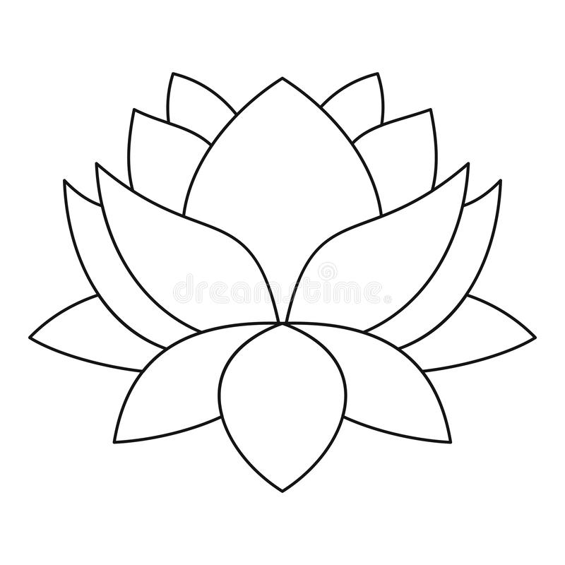 Flower Line Drawing Icon : Lotus flower icon outline style stock vector