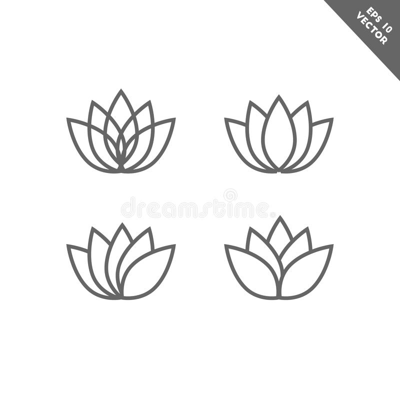 Free Lotus Flower Icon Set In Line Art Royalty Free Stock Photography - 121039367