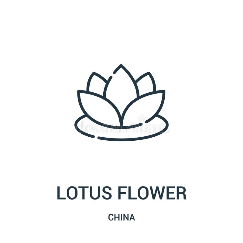 Lotus flower icon vector from china collection. Thin line lotus flower outline icon vector illustration. Linear symbol for use on. Web and mobile apps, logo royalty free illustration