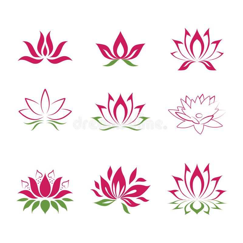 Lotus flower icons. Lotus flower shapes royalty free illustration