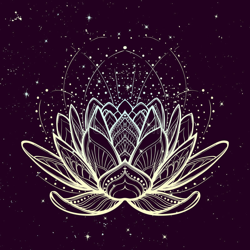 Lotus flower. Intricate stylized linear drawing on starry nignt sky background. Concept art for Hindu yoga and spiritual designs. Tattoo design. EPS10 vector royalty free illustration